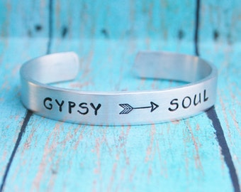 Bracelet Gypsy Soul BOHO Hand Stamped Jewelry Cuff Great Gift For Friend Sturdy 12 Gauge Aluminum Metal Silver Color NEW FONT Feather