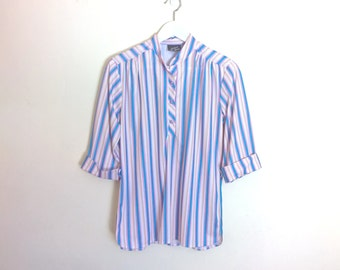 Vintage 1980's white v neck blouse with pink, blue and mustard stripes Vintage Clothing by VintageTwists