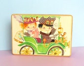 Anri Musical Jewelry Box Ferrandiz Reuge Music Box Cute Kids in Car Old Fashioned Illustration 1960s Style Cute Boy Girl Birds Drawing