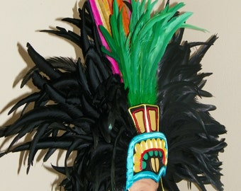 Aztec Rooster Pheasant Feather Headdress