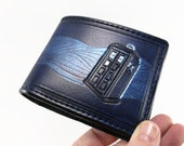 TARDIS in the Time Stream - Hand Tooled Leather Wallet