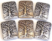 Six 2 Hole Slider Beads 2 Hole Spacer Beads Tree Of Life Antiqued Plated Silver & Rose Gold Tone Mixed Metal Tree Of Life Beads Nature Beads