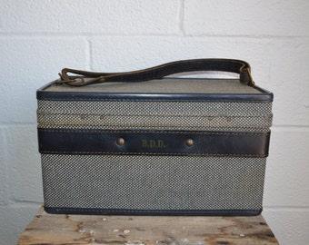 Vintage Hartmann Luggage Black and White Tweed Train Case Black Belting Leather Adjustable Strap