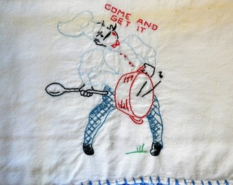 Vintage Embroidered Dish Towels Large Feedsack Kitchen Towels Handmade Cup Towels Set of 6 of Dish Towels with Chefs