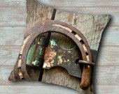 Rustic Throw Pillow, Horseshoe Pillow, Decorative Pillows, Rustic Home Accent, Accent Pillows, Country Theme Accent, Country Accent Pillow