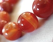 """Natural Red Agate Round Beads, large 12mm, full strand, 15.5"""", 33 beads"""