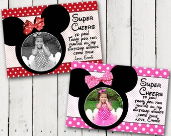 Minnie Mouse Birthday Thank You Card