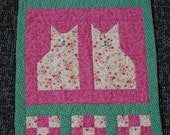 Cat Wall Hanging, Hand Quilted, Patchwork