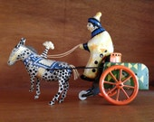 Vintage Russian/Soviet Made In USSR WIND-UP Tin Toy Clown With Donkey Cart