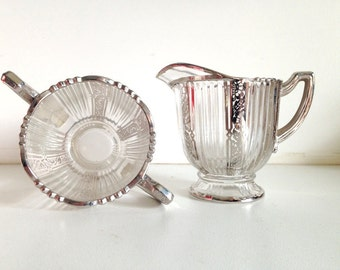 Art Deco Glass Creamer & Sugar Bowl