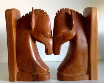 Mid-Century Handcarved Wood Horse Bookends