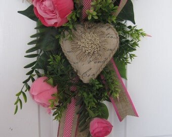 Valentine Wreath, Front Door Wreath, Pink Roses, Burlap Heart, Wedding Wreath, Mother's Day Wreath, Floral Decoration