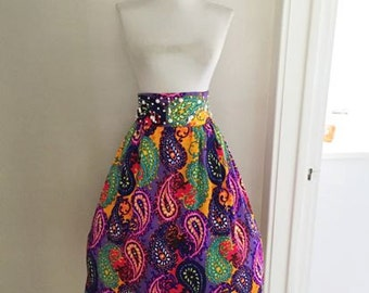 Sale VINTAGE Bright Mod 60s 1960s PSYCHEDELIC Floral Paisley Hippie Full Skirt