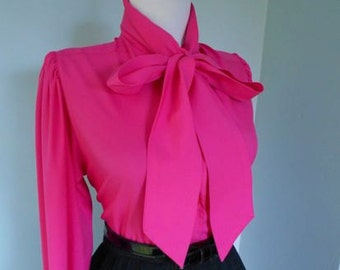 Vintage 1950s 1960s Atomic Fushcia Hot Pink Long Sleeve Button Down Blouse w Ascot Tie Neck