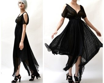 Black Silk Evening Gown Dress Size Small Plunging Neckline Open Shoulder// 80s does 20s Vintage Flapper Dress Size Small Black Silk Dress