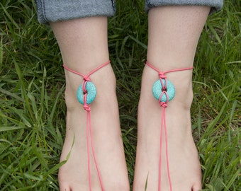 Pink Leather and Turquoise Barefoot Sandals