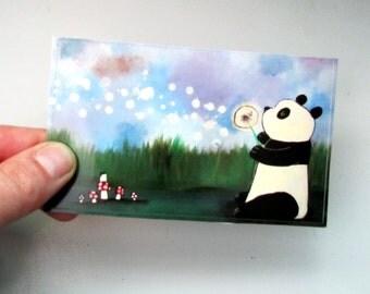 Large Panda Bear Sticker Fun Whimsical Art Cute Wish Flower Stationery for Kids