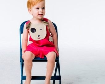 Baby Boy Romper //Red Puppy Romper //Boys Linen Summer Outfit //Handmade Children's Clothing //Boomer Romper