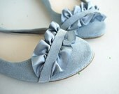 Selection of Two Handmade Leather Suede Ballet Flats Ballerinas Shoes - Reserved for Lou
