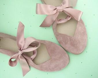 Heart Shaped Soft Old Pink Handmade Ballet Flats