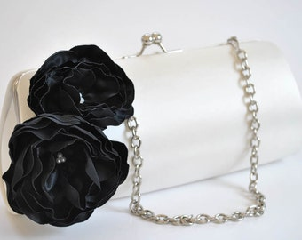 Black and White - Bridal Clutch - Bridesmaid Clutch - Wedding clutch - Large clutch- You choose the color