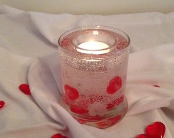 Hearts and Flowers Valentine Gel Forever Candle