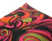Dynamite mod vintage silky polyester knit superwide marbled optical print fabric pink green black orange 3 plus yards available
