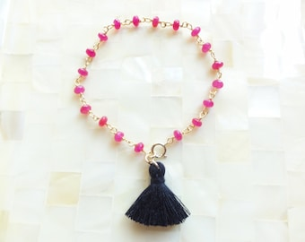 Smooth Hot Pink Jade Rondelle Vermeil Wire Wrapped Chain Bracelet with Petite Black Tassel (B1206)