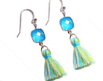 Tassel Earrings - Ocean Blue Tassel Beach Inspired Jewelry - Trendy tassel jewelry - simple celebrity modern