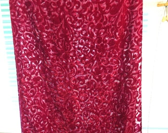 velvet burn out long large-oblong scarf shawl fuchsia/red rare wrap cover-up/hard-to-find/rayon/silk blend no flaws gorgeous