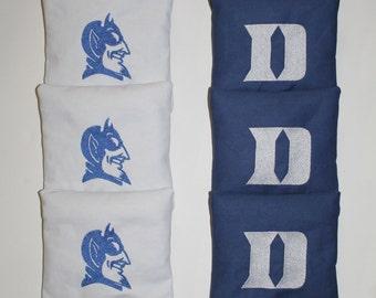 DUKE BLUE DEVILS Cornhole Embroidered Bean Corn Toss Bags A.C.A. Regulation New
