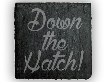 Coasters Slate Square Set of 4 - 2415 Down the Hatch