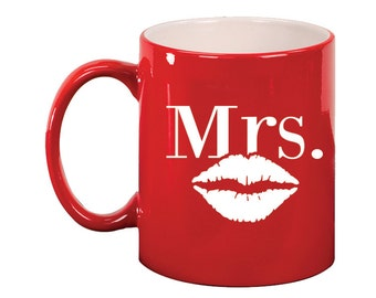 Engraved Ceramic Round Coffee and Tea Mug 11oz in various colors -8939 Mrs. Lips