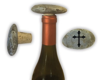 Engraved Symbol Wine Stopper on Natural Stone  - 6857 Cross