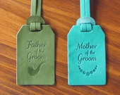 Personalized Wedding Leather Luggage Tags Monogrammed x 2 Bundle, Father & Mother of the Groom, Handcrafted by Harlex
