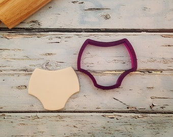 Miss Doughmestic Baby Diaper Cookie Cutter and Fondant Cutter and Clay Cutter
