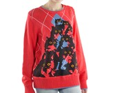 Red Argyle Crazy Kitty Sweater