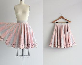 Vintage Full Circle Skirt . 50s 1950s Skirt . Pink Skirt