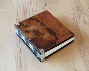 handmade tree bark journal - wedding guest book - cabin guest book -brown black natural woodland rustic  - ready to ship