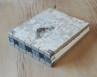 rustic wedding guest book or journal - birch bark cabin guest book - silver natural woodland  unique wedding anniversary gift ready to ship