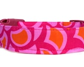 Pink Orange Dog Collar / Geometric Dog Collar / Girl Dog Collar / Modern Dog Collar / Adjustable Dog Collar / Pink Dog Collar