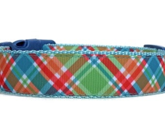 Madras Dog Collar Collar / Plaid Dog Collar Dog Collar / Argyle Dog Collar / Nylon Webbing Dog Collar / Blue Plaid Dog Collar