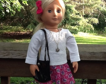 20% OFF - Red Flowered Circle Skirt, White lacy Shirt and Purse for 18 inch doll like American Girl, doll necklace, girls gift, girls toy