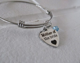 "Charm Bracelet- ""Mother of the bride"" laser etched charm with an accent bead of your choice"