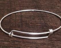 NEW - Sterling Silver Expandable Bracelets - Ready to Add Charms and Wear SS Bangle Bracelets - BR1