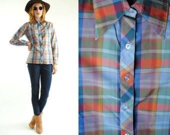 ON SALE 50% 70's Vintage WESTERN Plaid Silky Long Sleeve Shirt (S)