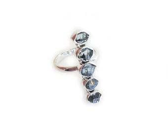 Blue Herkimer Quartz Diamond Ring - Sterling Silver, gemstone ring, herkimer ring