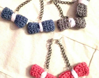 Drop bow earrings / crochet /girly stuff / sweet 16 /color made to order/ready to ship
