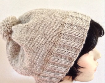 Slouchy Beanie Hat,Adult Size Natural Lt. Grey/Taupe Wool