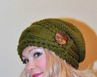 Slouchy Beanie Slouchy Hat Slouch Women Hat Button Hat Hand Knit Winter Adult Hat CHOOSE COLOR Olive Green Chunky Gift